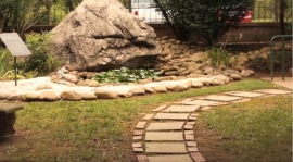 Pavers on the garden path
